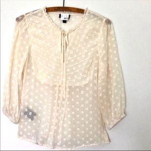 Bebe Silk-blend Sheer polka-dot cream Top XSmall